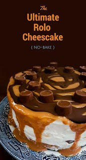 A deep no-bake Rolo cheesecake topped with caramel, melted dark chocolate and Rolos. It's easy to make, but a really stunning cake for a party or celebration, but easy enough to make and serve after Sunday lunch or dinner.