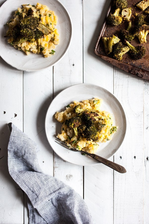Cheesy Vegan Roasted Broccoli with Smashed Root Vegetables | The Full Helping