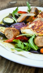Roast Vegetable, Veggie Sausage & Halloumi Wraps